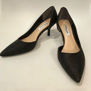 Nina D'Orsay Black Sparkle Heels Sz